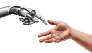 Eine Roboter-ähnliche Maschinen Hand, links im Bild und rechts eine menschliche Hand, die sich annähern. Als Symbol für die Mensch Maschine Interaktion_ HMI_Davinci_ und die Philosophie von Userfriend Usability Agentur auf userfriend.de