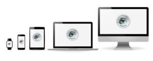 Fünf verschiedene Endgeräte nebeneinander, Links angefangen eine Smartwatch (Uhr), Smartphone (Handy), Tablet, Laptop und ein großer Bildschirm. Alle mit dem UX Siegel von Userfriend. Als Symbol für responsive Webdesign, im Kontext und der angepassten Website-Darstellung_ von Userfriend Usability Agentur, auf userfriend.de