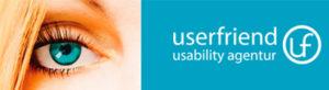 Das Logo von Userfriend. Links das Auge von Britta Litzenberg, mit Text userfriend, darunter usability ux agentur und rechts daneben ein Symbol, ein uf in einem Kreis