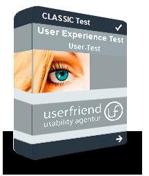 """Eine Abbildung von einem virtuellen Userfriend Paket mit der Aufschrift """"Classic Test User Experience Test User Test und dem Logo"""", als Symbol für internationale User Usability Test, User UX Research inkl. Expert Review, von Userfriend Usability Agentur, auf userfriend.de"""