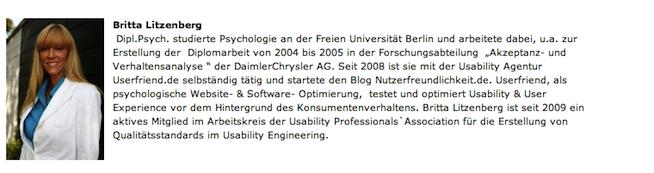 Die Vorstellung von Britta Litzenberg für die Govermedia 2011. Userfriend Usability Agentur, auf userfriend.de