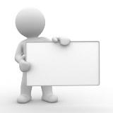 """Ein """"Männchen"""" hält ein weißes leeres Board.als Symbol für """"hier Informationen"""" _von Userfriend Usability Agentur, auf userfriend.de"""