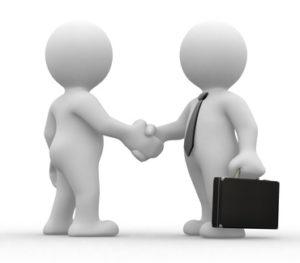 """Zwei """"Männchen"""" geben sich die Hand,das rechts hat eine Krawatte um und einen Aktenkoffer in der Hand. Als Symbol für """"gute Zusammenarbeit"""", von Userfriend Usability Agentur, auf userfriend.de"""