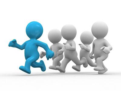 """Fünf Männchen rennend, eins farbig hervorgehoben als erstes und die anderen folgend als Symbol für """"Laufen Sie Ihren Mitbewerbern davon"""" von Userfriend Usability Agentur, auf userfriend.de"""