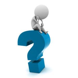 """Ein Fragezeichen, auf dem ein """"Männchen"""" grübelnd, fragend dargestellt sitzt von Userfriend Usability Agentur, auf userfriend.de"""