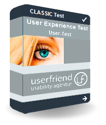 "Eine Abbildung von einem virtuellen Userfriend Paket mit der Aufschrift ""Classic Test User Experience Test User Test und dem Logo"", als Symbol für internationale User Usability Test, User UX Research inkl. Expert Review, von Userfriend Usability Agentur, auf userfriend.de"