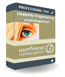 """Eine Abbildung von einem virtuellen Userfriend Paket mit der Aufschrift """"Professional Test Usability Engineering projektbegleitend und dem Logo"""", als Symbol für den Prozess für die Nutzer-zentrierte Gestaltung, von Userfriend Usability Agentur, auf userfriend.de"""
