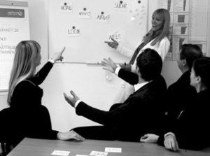 Fünf Menschen bei Userfriend in Aktion, gestikulierend. Eine an einem Board stehend, vier andere davor am Tisch sitzend, als Beispiel für User Research im UX Design. Von Userfriend Usability Agentur, auf userfriend.de