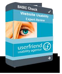 """Ein virtuelles Userfriend Produkt-Paket, mit der Aufschrift """"Basic Check, Website Usability Expert Review und dem Logo"""" als Symbol für eine Usability Test Analyse von Experten von Userfriend Usability Agentur, auf userfriend.de"""