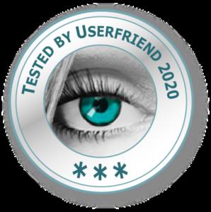 Ein Qualitätssiegel- mit einem Auge und der Aufschrift_Tested by Userfriend_2020_ mit drei Sternen (Drei bis fünf-5 Sterne-Zertifizierung möglich) von Userfriend Usability Agentur, auf userfriend.de