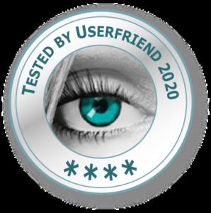 Ein Qualitätssiegel- mit einem Auge und der Aufschrift_Tested by Userfriend_2020_ mit vier Sternen (Drei bis fünf-5 Sterne-Zertifizierung möglich) von Userfriend Usability Agentur, auf userfriend.de