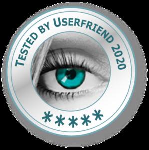 Ein Qualitätssiegel- mit einem Auge und der Aufschrift_Tested by Userfriend_2020_ mit fünf Sternen (Drei bis fünf-5 Sterne-Zertifizierung möglich) von Userfriend Usability Agentur, auf userfriend.de